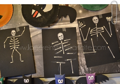 squelette halloween avec coton tige enfant maternelle activites