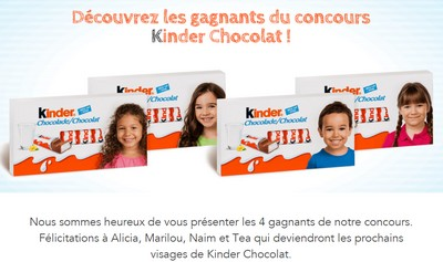 gagnants concours kinder chocolat